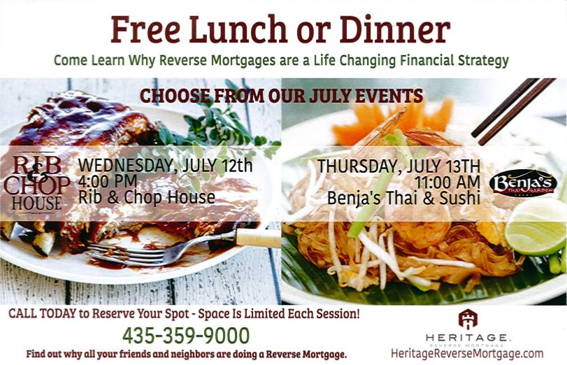 St George Utah Reverse Mortgage Seminar and Dinner or Lunch – July 2017