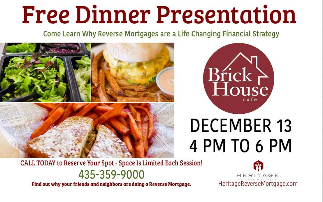 Free Dinner and Reverse Mortgage Presentation — Cedar City Dec 2017